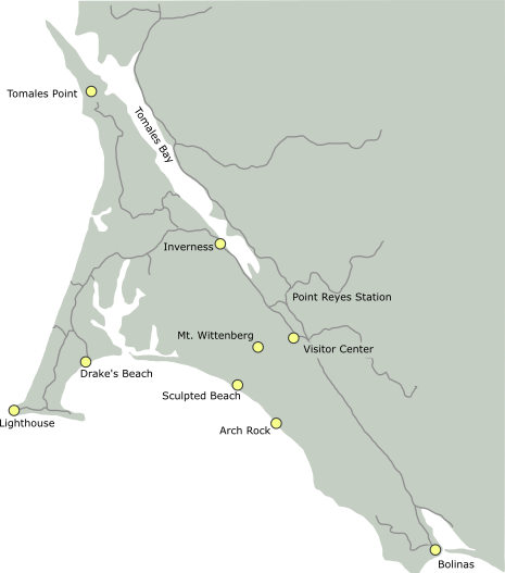 Map of Locations in Point Reyes